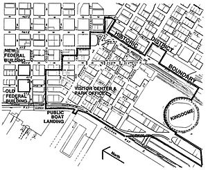 Pioneer Square, Seattle - Pioneer Square-Skid Road Historic District. This map also shows how Second Avenue Extension continues a piece of the north-of-Yesler street grid into the area south of Yesler Way. (The map dates from before the Kingdome was replaced by two new stadiums.)