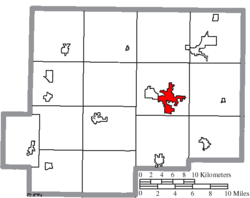 Location of Ottawa in Putnam County