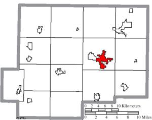 Ottawa, Ohio - Image: Map of Putnam County Ohio Highlighting Ottawa Village