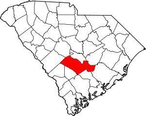 Map of South Carolina highlighting Orangeburg ...