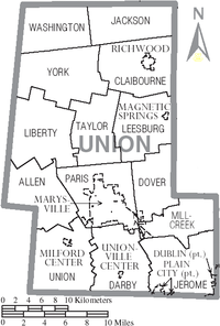Map of Union County, Ohio With Municipal and Township Labels