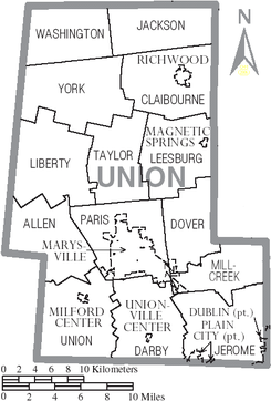 Map of Union County Ohio With Municipal and Township Labels.PNG