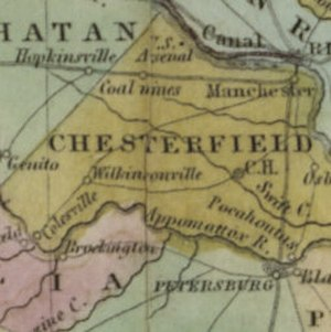 Richmond and Petersburg Railroad - The Proposed Richmond and Petersburg Railroad with the Chesterfield Railroad bringing coal in from Western Chesterfield and the coal mines to the south not yet discovered in 1834.