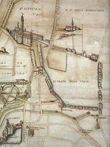 Prato della Valle nel 1767, prima del progetto di Andrea Memmo