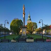 Mariánský sloup na Palackého náměstí, Němčice nad Hanou, okres Prostějov.jpg