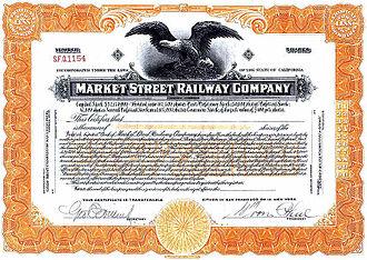 Market Street Railway (transit operator) - Market Street Railway Co. stock certificate c1920