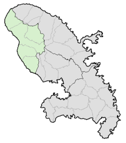 Location of Saint-Pierre in Martinique