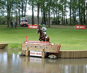 "Luhmühlen Horse Trials - Mary King and Kings Temptress at the fence 27 a (e.on boat ""at the quay"")"