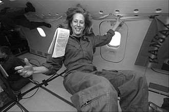 Mary Roach - Roach floats weightlessly on a parabolic flight while researching Packing For Mars