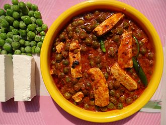 Paneer - Mattar paneer, a vegetarian dish from India