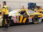Matt Kenseth's 2004 car being pushed out by his crew