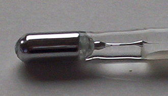 Mercury (element) - The bulb of a mercury-in-glass thermometer