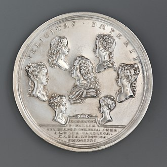 John Croker (engraver) - Croker's medal of 1732 showing the surviving children of King George II, Frederick, William,  Anne, Amelia, Caroline, Mary, and Louisa