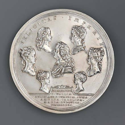 John Croker's medal of 1732 showing the surviving children of King George II, Frederick, William, Anne, Amelia, Caroline, Mary, and Louisa Medal of George II and his Family MET DP-180-155.jpg