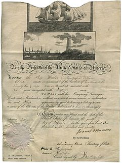 Mediterranean pass Document identifying ships as protected from Barbary pirates by treaty