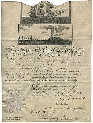Mediterranean pass - A U.S. Mediterranean passport from 1820