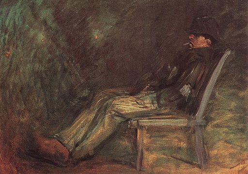 Mednyánszky, László - Tramp Seated on a Bench (ca 1898)