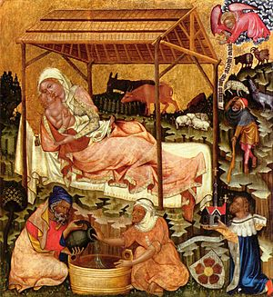 Nativity of Jesus - Medieval miniature painting of the Nativity by the Master of Vyšší Brod, c. 1350