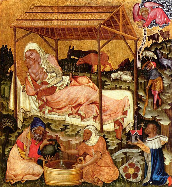 Medieval miniature of the Nativity c. 1350 Meister von Hohenfurth 002.jpg