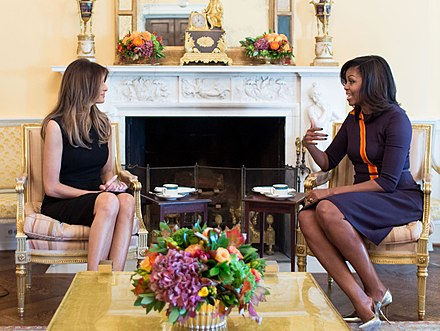 Obama meets future first lady Melania Trump in November 2016. Melania Trump with Michelle Obama at the White House (crop).jpg
