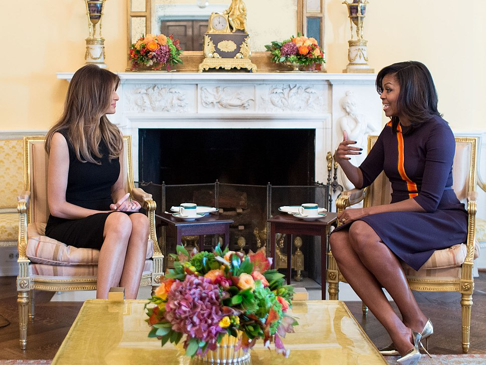 Melania Trump with Michelle Obama at the White House (crop)
