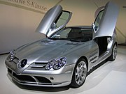 A silver SLR McLaren on display at the 2006 European Motor Show in Brussels.