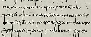 Merovingian script - Sample from an 8th-century evangelary in the Merovingian script