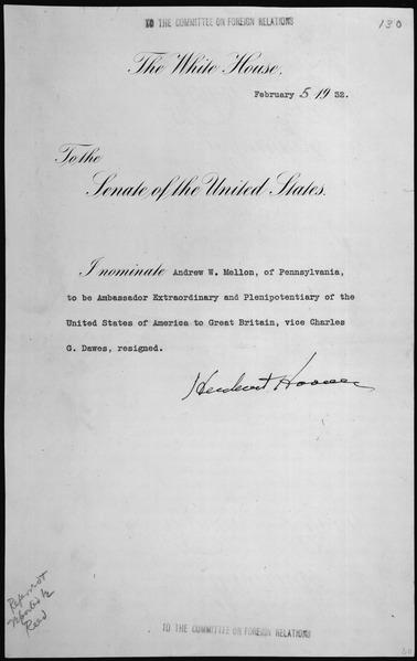 File:Message of President Herbert Hoover nominating Andrew W. Mellon of Pennsylvania to be Ambassador Extraordinary and Pleni - NARA - 306352.tif