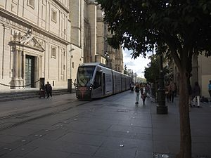 MetroCentro (Seville) - A tram passing the Cathedral in 2014