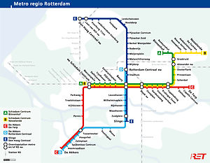 Metrokaart van Rotterdam