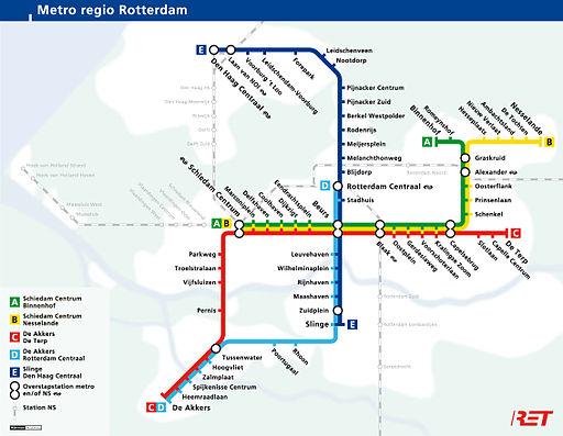 Rotterdam metro map Netherlands