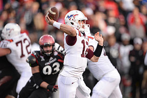 Michael Brewer - Brewer passes the ball during the 2014 Military Bowl