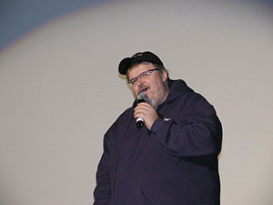 Michael Moore speaking at the Traverse City fi...