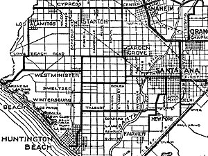 "Midway City, California - 1921 map including Midway City area with Bolsa Avenue labeled and intersecting to the left the unidentified Beach Boulevard (then called ""Huntington Beach Boulevard""), shown as a thick black line"