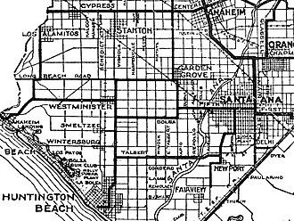 """Midway City, California - 1921 map including Midway City area with Bolsa Avenue labeled and intersecting to the left the unidentified Beach Boulevard (then called """"Huntington Beach Boulevard""""), shown as a thick black line"""
