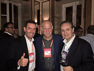 Helder Antunes - Antunes (right) with George Papandreou, former Prime Minister of Greece (center), and cousin Miguel Antunes Frasquilho, TAP Portugal chairman (left); Web Summit, 2016.
