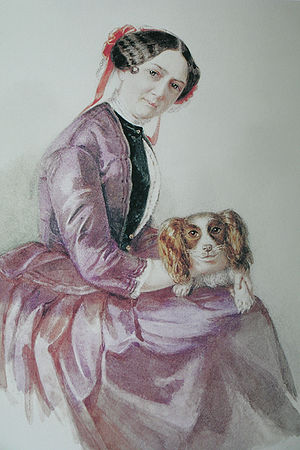 "Minna Planer - Minna Wagner in 1853 with her dog ""Peps"". Watercolour by Clementine Stockar-Escher"