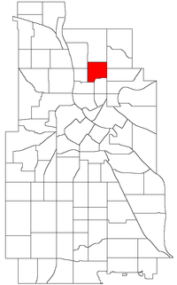 Location of Holland within the U.S. city of Minneapolis