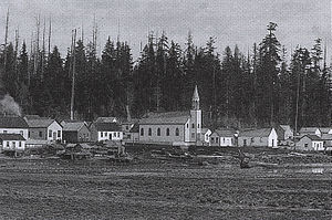 History of the Squamish people - The village of Eslha7an, also called Mission Reserve, was the center of religious conversation for these people. Photographed here is the St. Paul's Catholic Church, the oldest church in British Columbia. Norman Caple photo, City of Vancouver Archives.