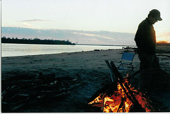 Canoers' campsite on a sandbar in the Mississippi River near Old Town, Arkansas.