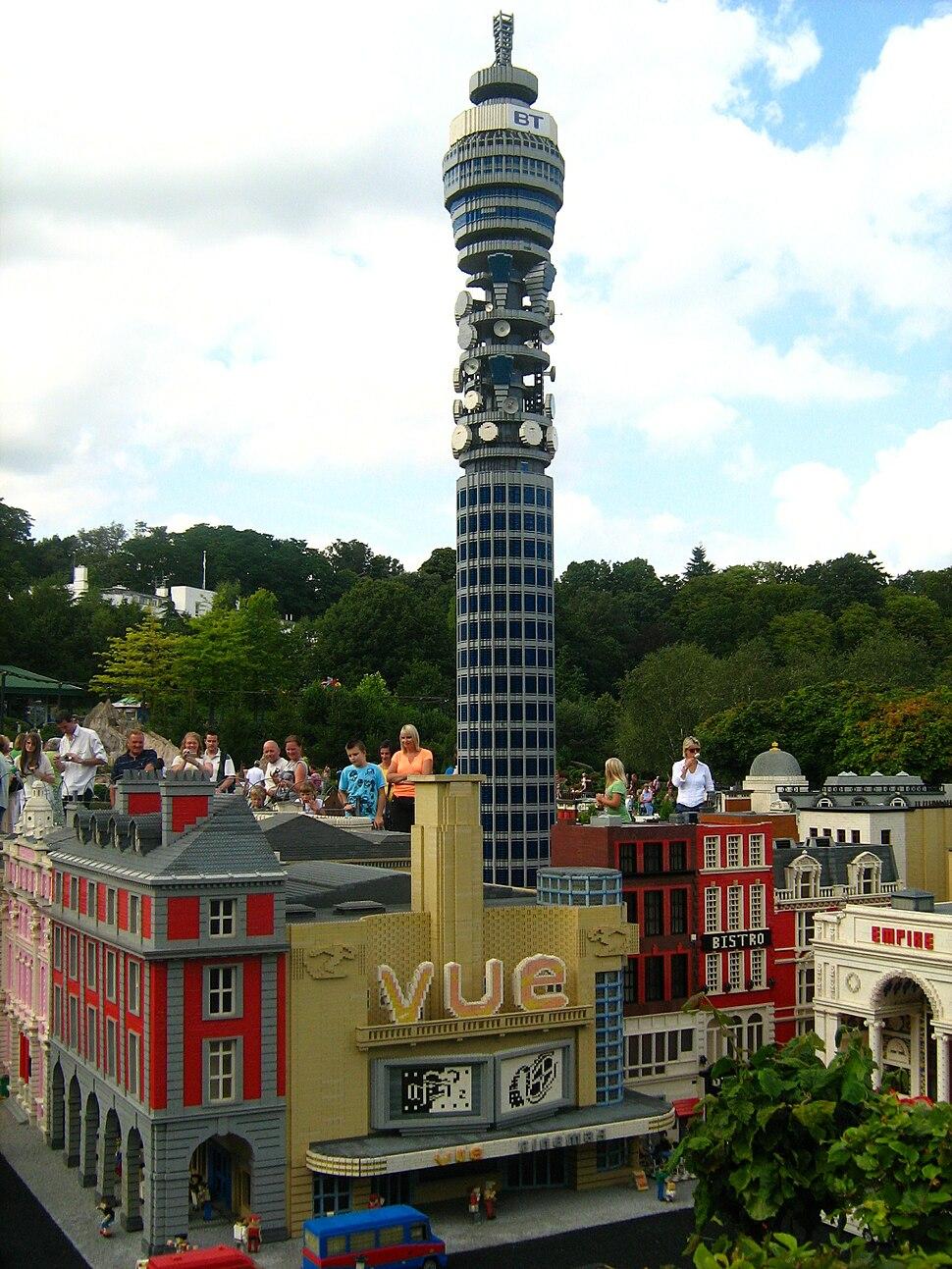 Model of BT Tower in Miniland, Legoland Windsor