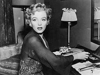 Monroe as a mentally disturbed babysitter in the thriller Don't Bother to Knock (1952) Monroe in Don't Bother to Knock (1952).jpg