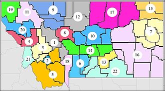 Montana District Courts - The 22 judicial districts of the District Courts of Montana