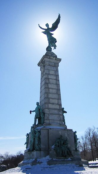 George-Étienne Cartier - Monument to Sir George-Étienne Cartier in front of Mount Royal during winter in Montreal
