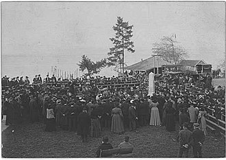 Edmond S. Meany - Meany orating the dedication of the Alki Point Monument November 13, 1905