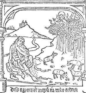 Mircea Eliade - Moses taking off his shoes in front of the burning bush (illustration from a 16th-century edition of the Speculum Humanae Salvationis).