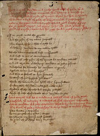 Wisdom (play) - Opening page of the partial copy of Wisdom preserved in the Bodleian Library (MS Digby 133, folio 158r)