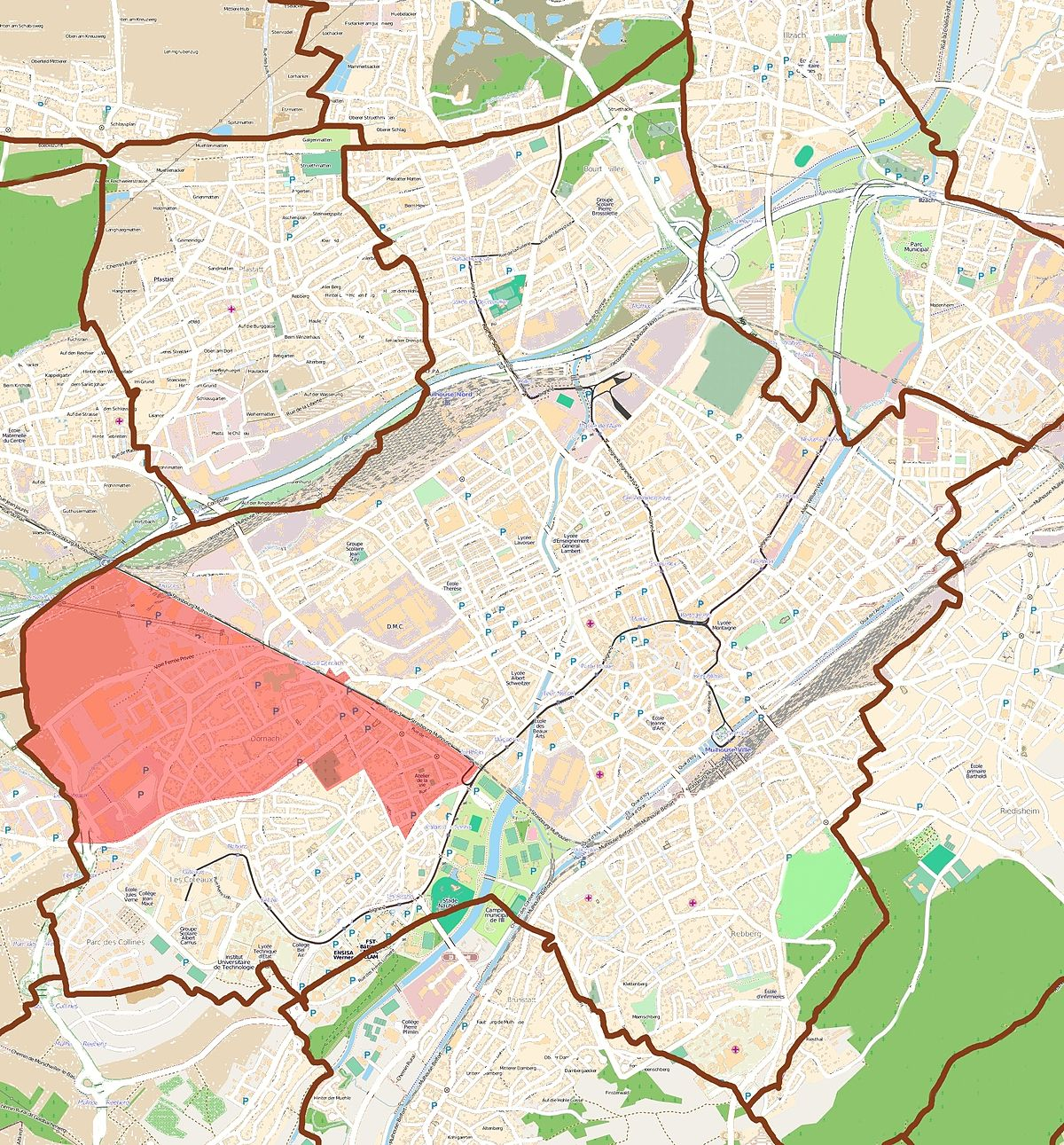 Dornach quartier de mulhouse wikip dia for Code postal de vesoul