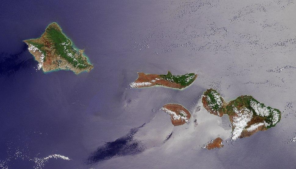 NASA satellite photograph of the Hawaiian islands of O'ahu, Moloka'i, Lāna'i, Kaho'olawe, and Maui (left to right).jpeg