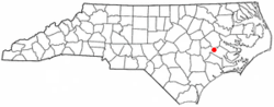 Location of Dover, North Carolina